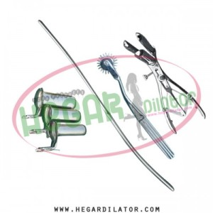 Hegar uterine dilator 3-4, pinwheel, mathieu speculum, collin speculum 3pcs