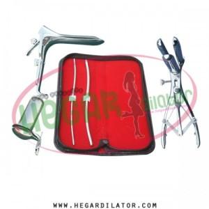 Hegar uterine dilator 3-4, 5-6, Mathieu speculum, grave small, collin 3pcs